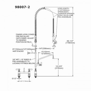 Pre Rinse Spray & Pot Filler Tap - Double Pedestal